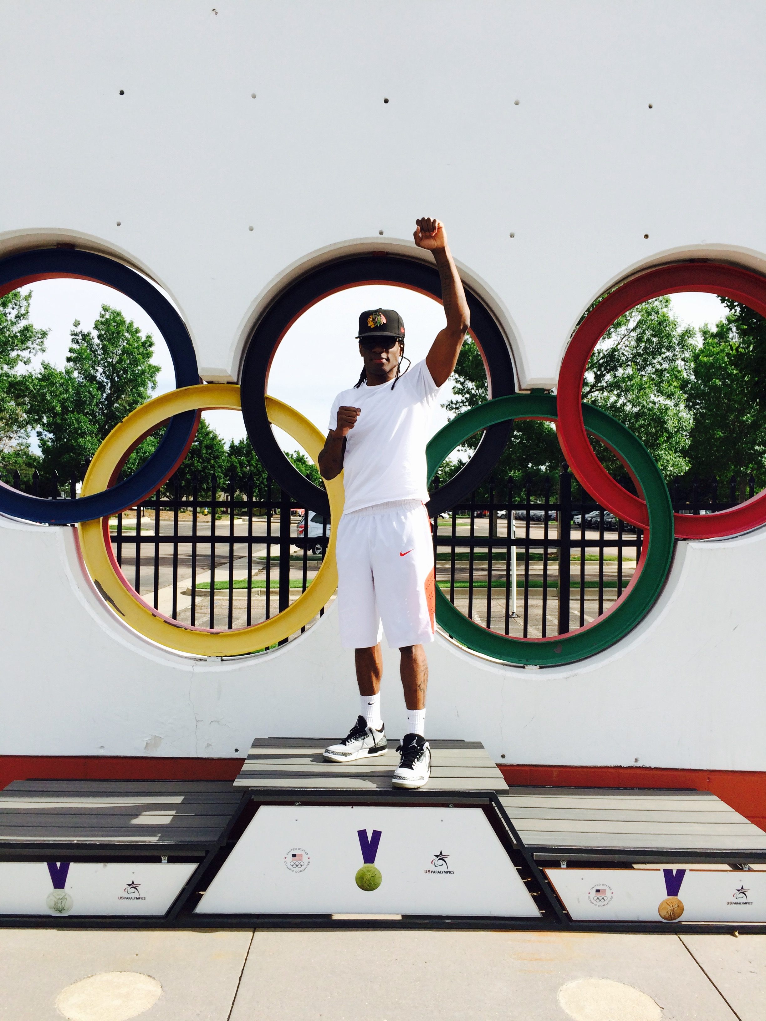 Chris outside the US Olympic Boxing training center in Colorado Springs in June.